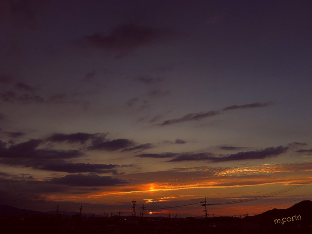 夕日と・・・ 焼け雲
